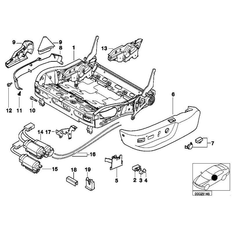 Genuine BMW Seat frame (52108162327)