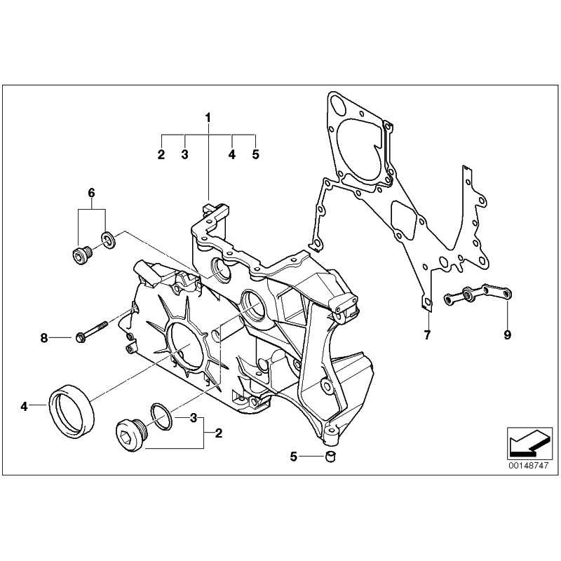 Genuine BMW Timing case cover, bottom (11147794136)