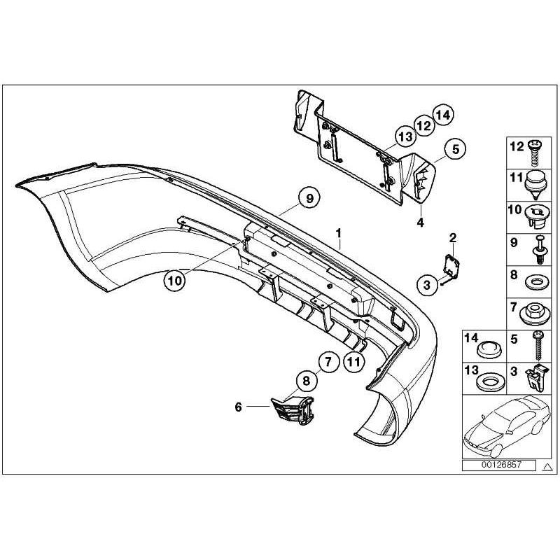 Genuine BMW Panel, bumper, primed, rear (51128410742)