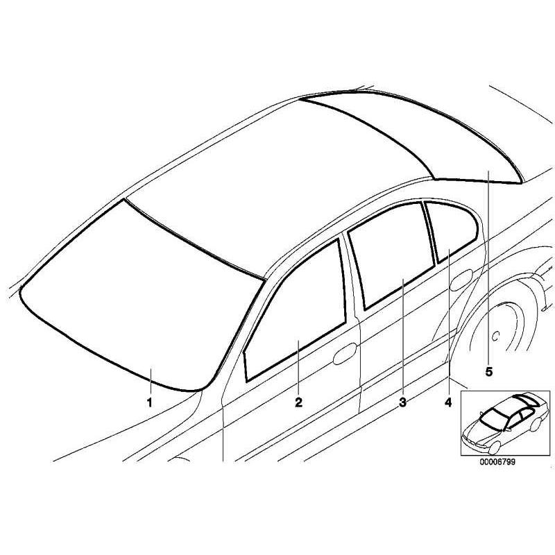 Genuine BMW Side window, black left (51348185799)